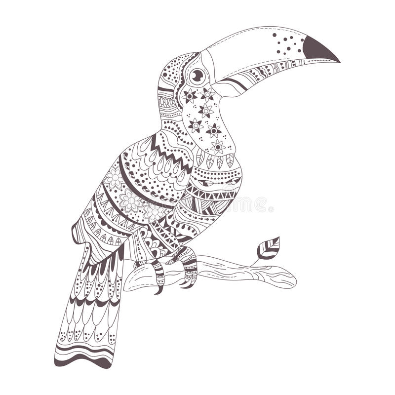 Hennamehendien, tatuering skissar toucan stock illustrationer