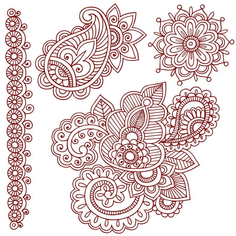 HennaMehndi Paisley klotter stock illustrationer