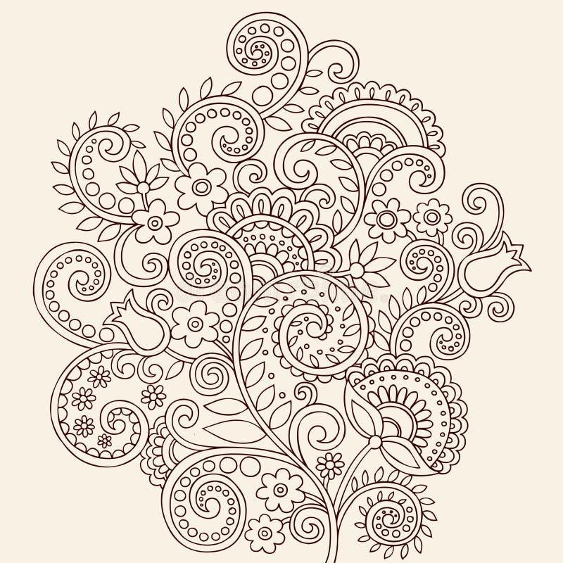 Hennastrauch Mehndi Paisley Gekritzel-Reben und Blumen vektor abbildung