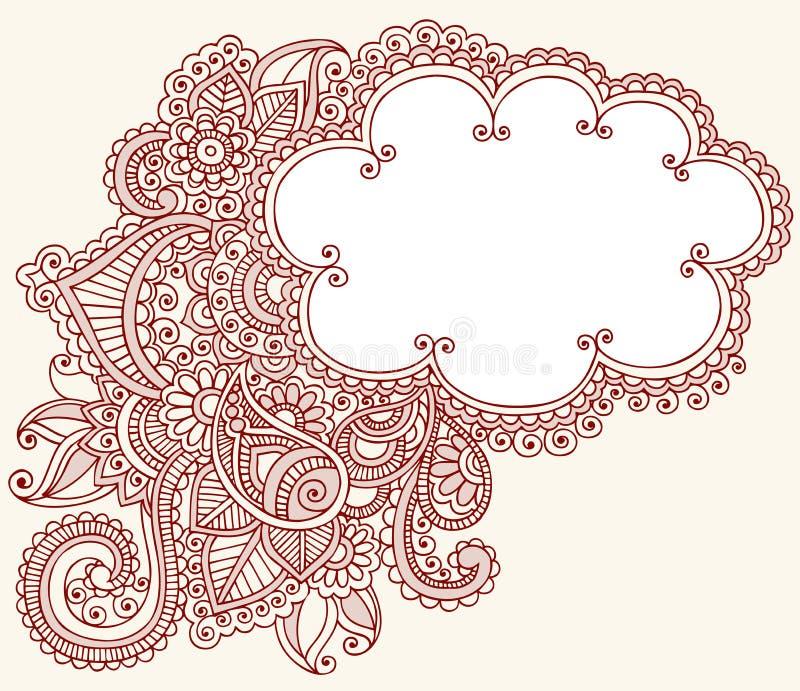 Hennastrauch Mehndi Paisley Wolken-Gekritzel-Auslegung lizenzfreie abbildung