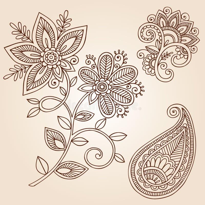 Hennastrauch-Tätowierung-Blumen-Gekritzel-vektorauslegung-Elemente lizenzfreie abbildung