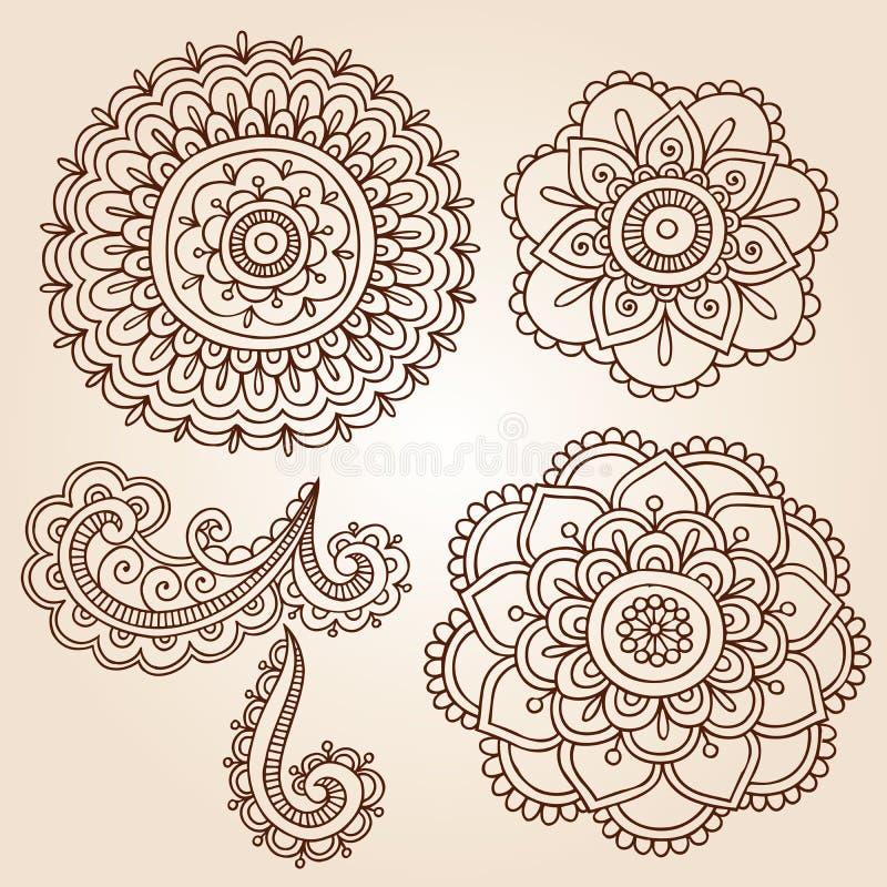 Hennastrauch-Tätowierung-Blumen-Mandala-Gekritzel-vektorauslegungen lizenzfreie abbildung