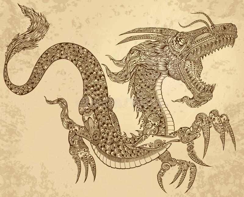 Hennastrauch-Tätowierungs-Stammes- Drache vektor abbildung