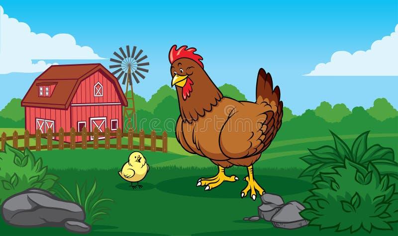 Henne im Bauernhof mit Küken vektor abbildung