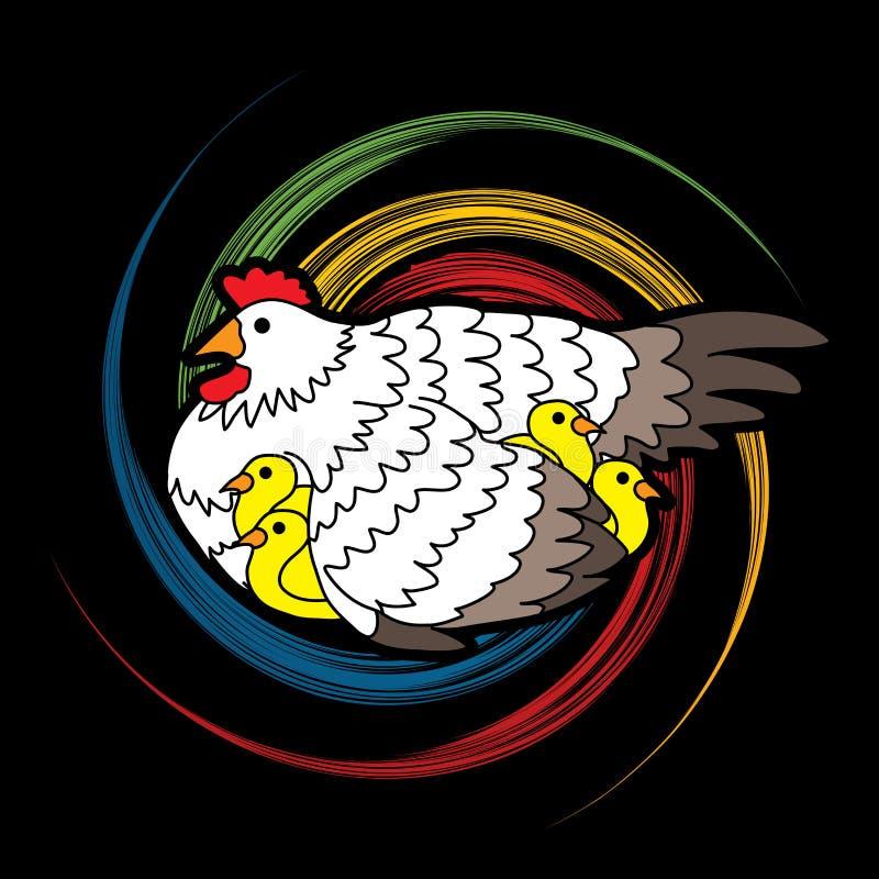 Henne mit dem Huhn, das unter den Flügeln sich versteckt lizenzfreie abbildung
