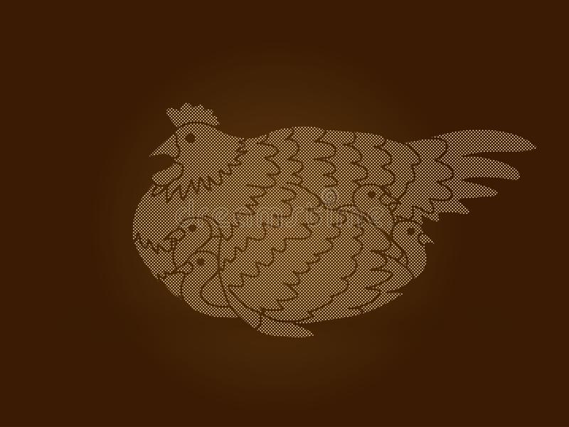 Henne mit dem Huhn, das unter den Flügeln sich versteckt vektor abbildung
