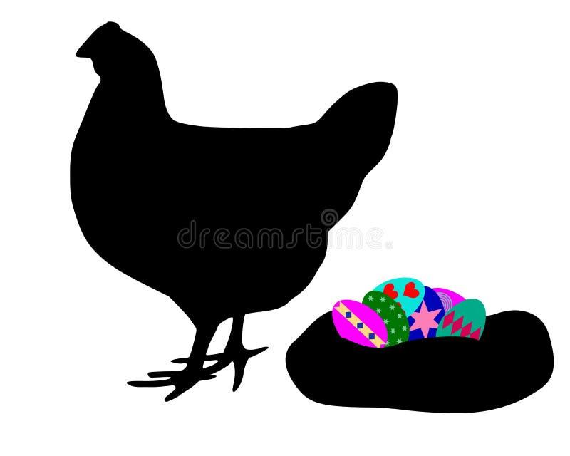 Henne mit Ostereiern stock abbildung