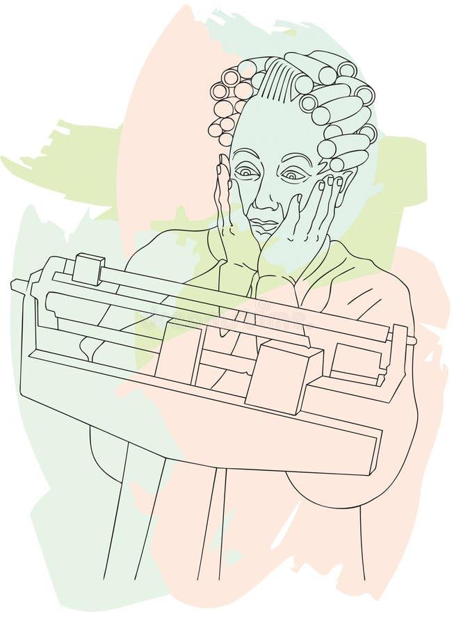 henne pensionär stöt viktkvinna stock illustrationer