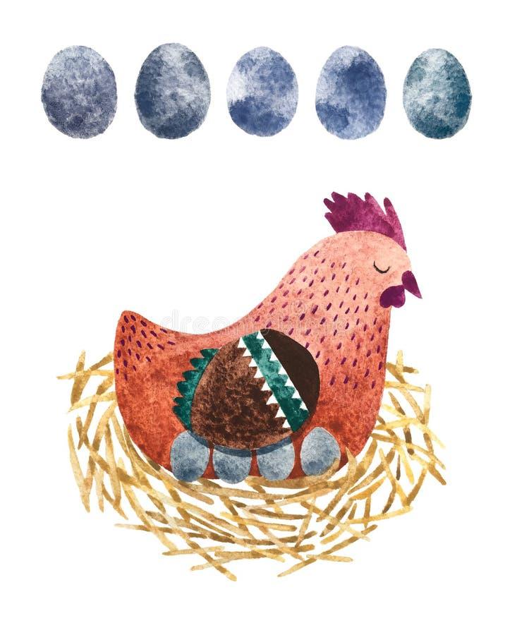 Henne und Eier lizenzfreie abbildung