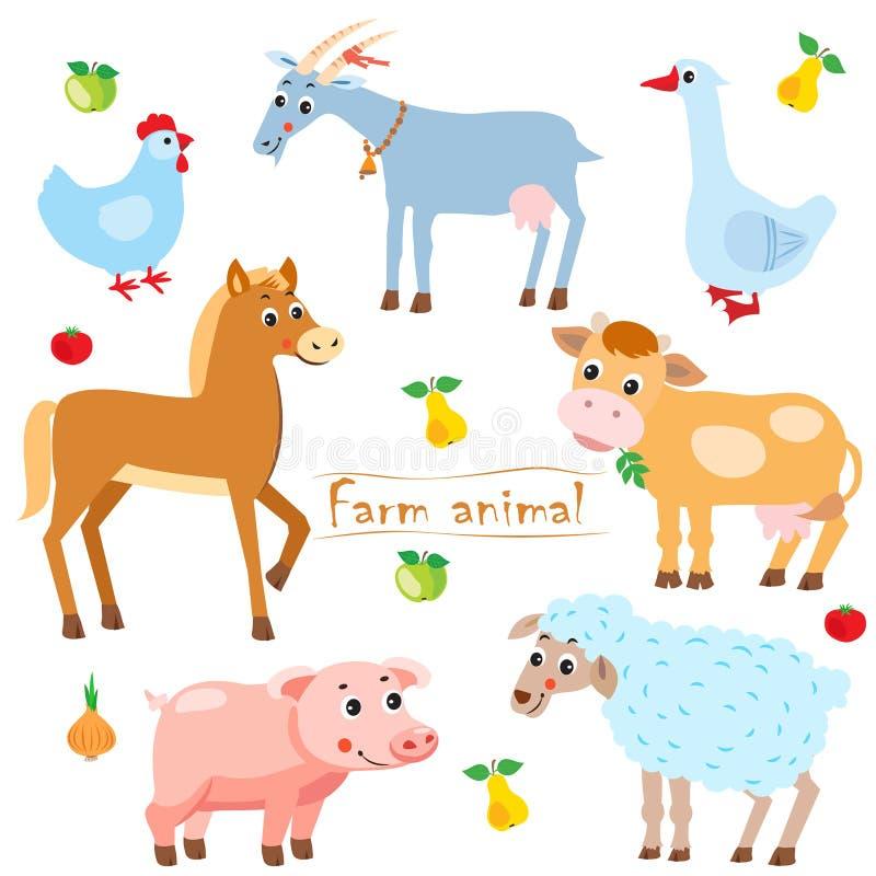 henne Ziege Gans Pferd kuh Schwein Schafe viele sheeeps haustiere Tiere auf einem weißen Hintergrund stock abbildung