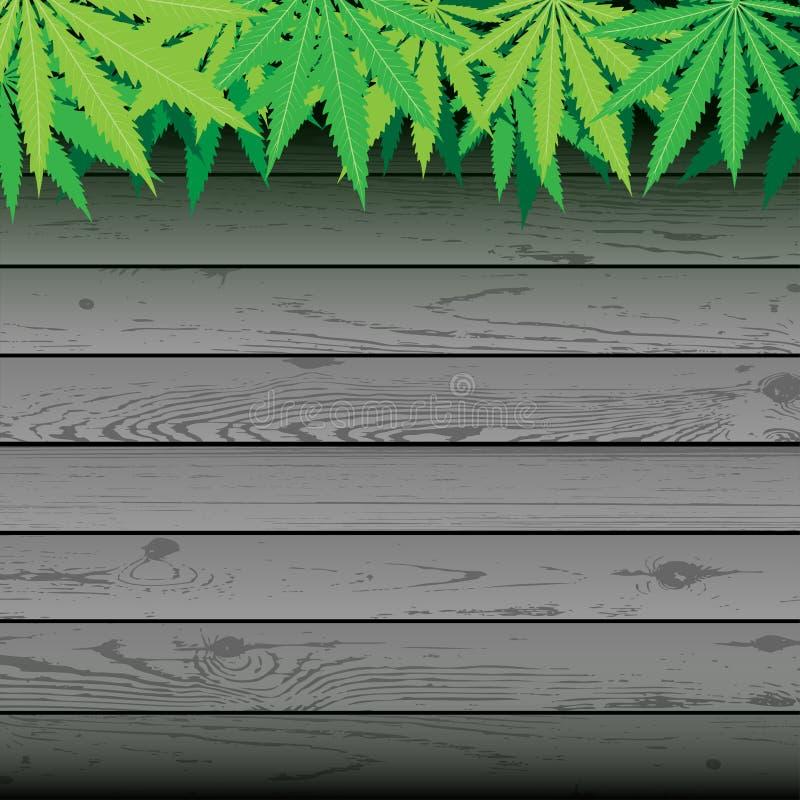 Hennep en grijze plank houten achtergrond vector illustratie