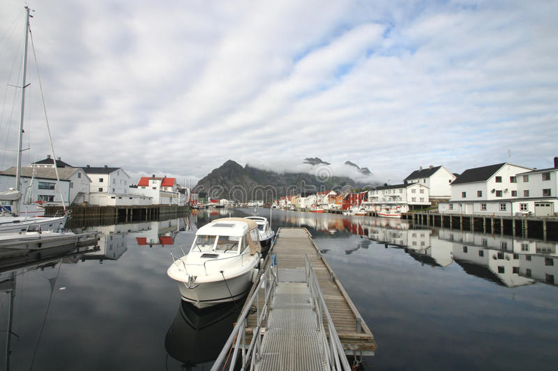 Henningsvaer's ships, boats and mirrors stock image