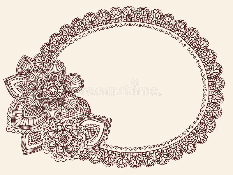 Henny Mehndi Koronkowy Doily Paisley Doodle Wektor royalty ilustracja