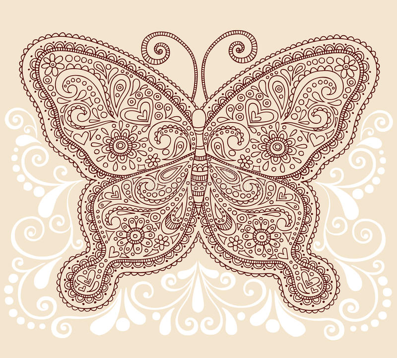 Henny Mehndi Paisley Motyli Doodle Projekt ilustracja wektor