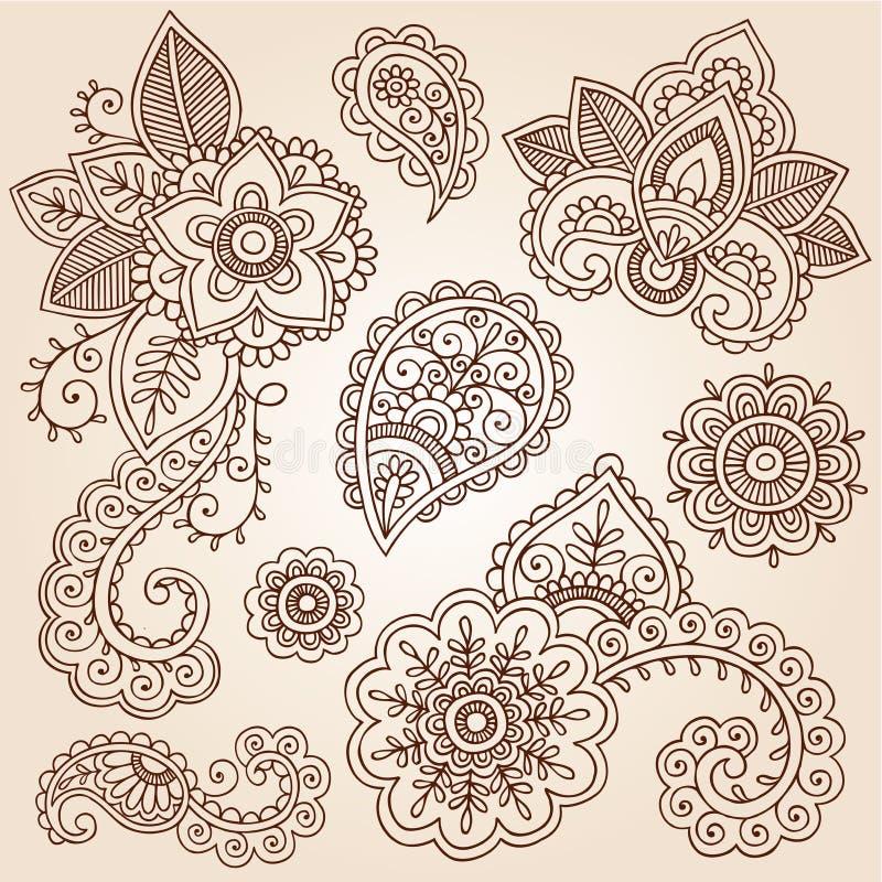 Henny Mehndi tatuażu Paisley Doodles Wektorowi ilustracji