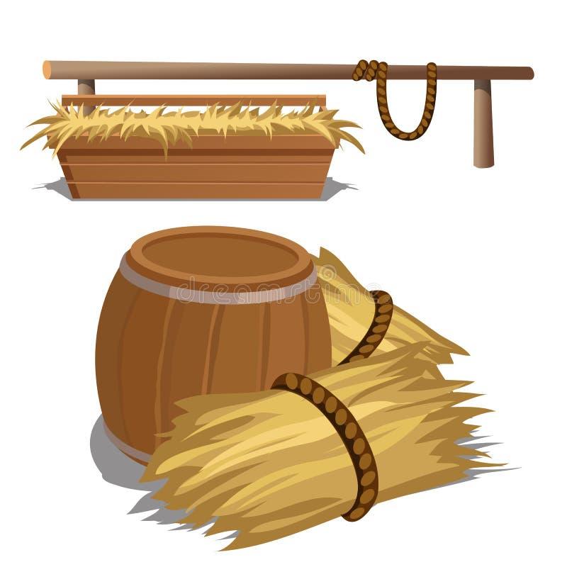Heno para alimentar el ganado y el barril stock de ilustración
