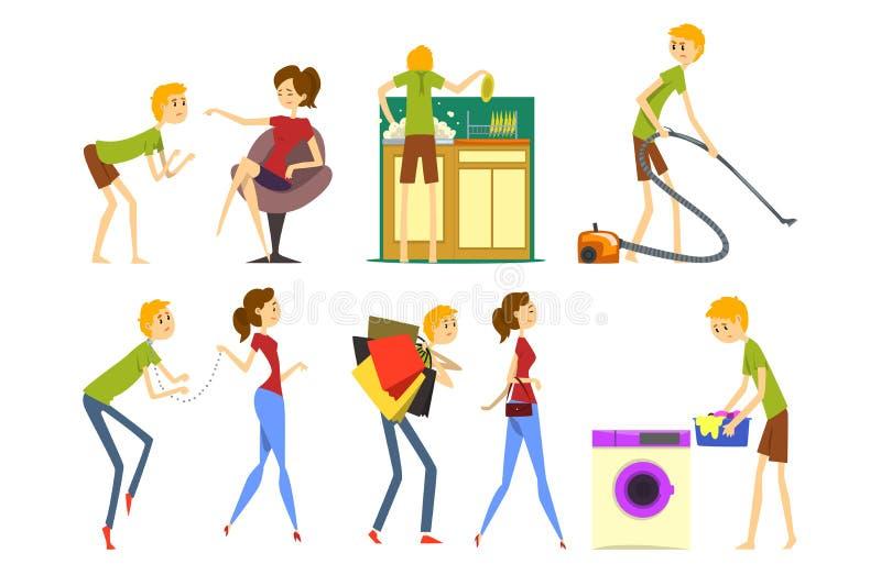 Henpecked набор человека, супруг преобладанный женой, househusband делая иллюстрации вектора мультфильма домочадца на белизне бесплатная иллюстрация