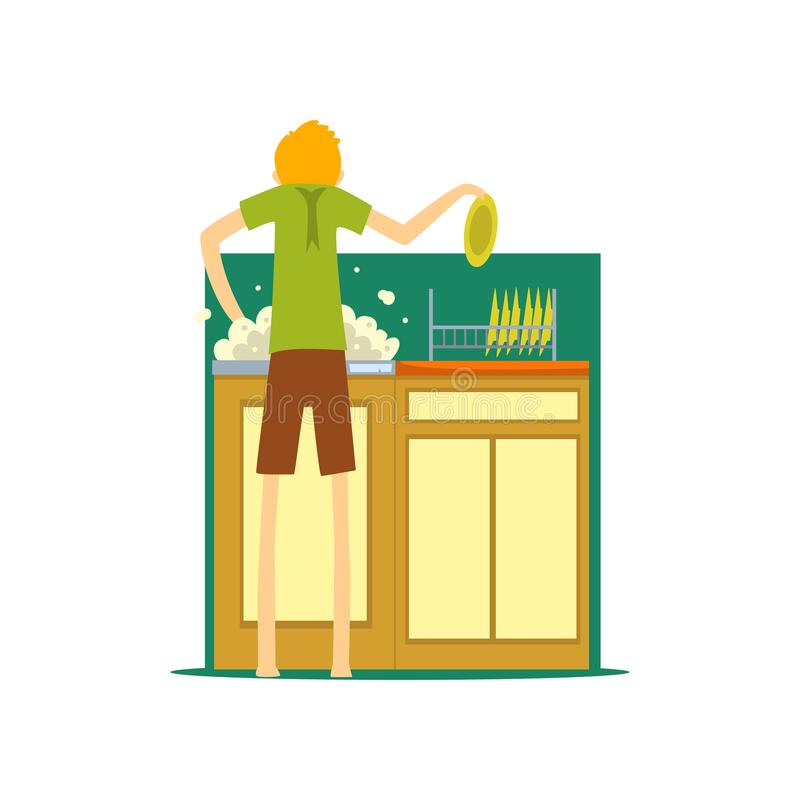 Henpecked mens, echtgenoot die de schotels in de keuken wassen, househusband doend de vectorillustratie van het huishoudenbeeldve stock illustratie