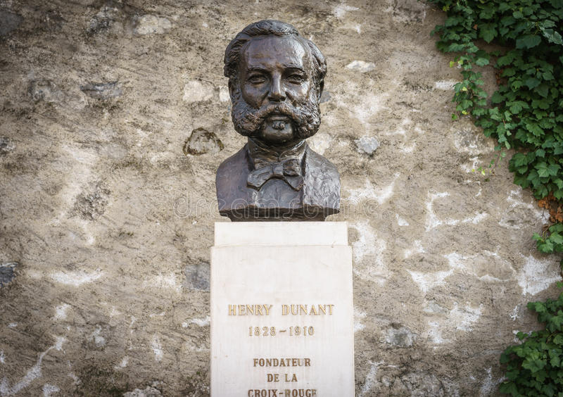 Henri Dunant, Geneva, Switzeland. Statue of Henri Dunant near the parc des bastions in Geneva, Switzerland. He founded the Red Cross. Photo taken on: March 11 stock photography