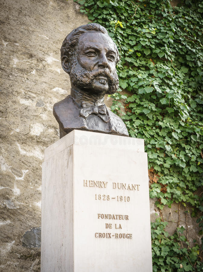 Henri Dunant, Geneva, Switzeland. Statue of Henri Dunant near the parc des bastions in Geneva, Switzerland. He founded the Red Cross. Photo taken on: March 11 royalty free stock images