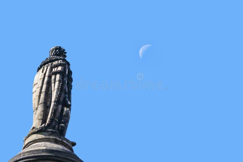 Henri Dundas смотрит луну, Edingburgh, Шотландию Великобританию стоковые изображения rf