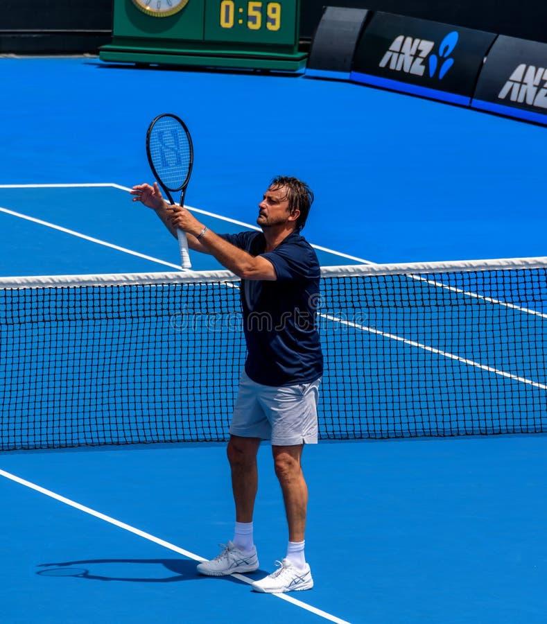 Henri Leconte, больший комедийный актер среди теннисистов стоковая фотография rf