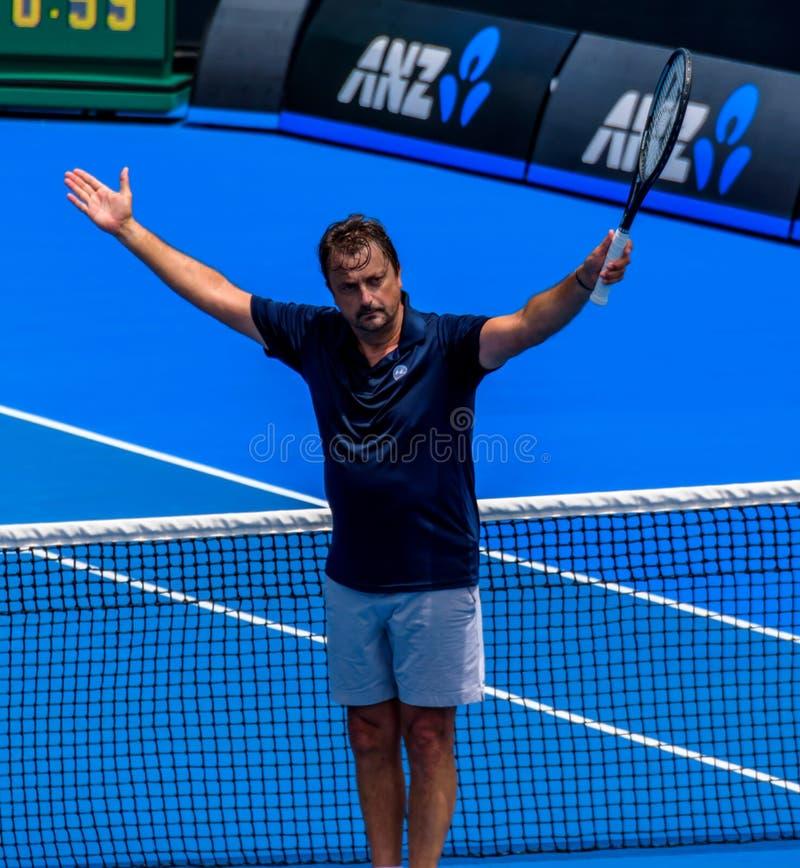 Henri Leconte at Australian open 2019 stock photos