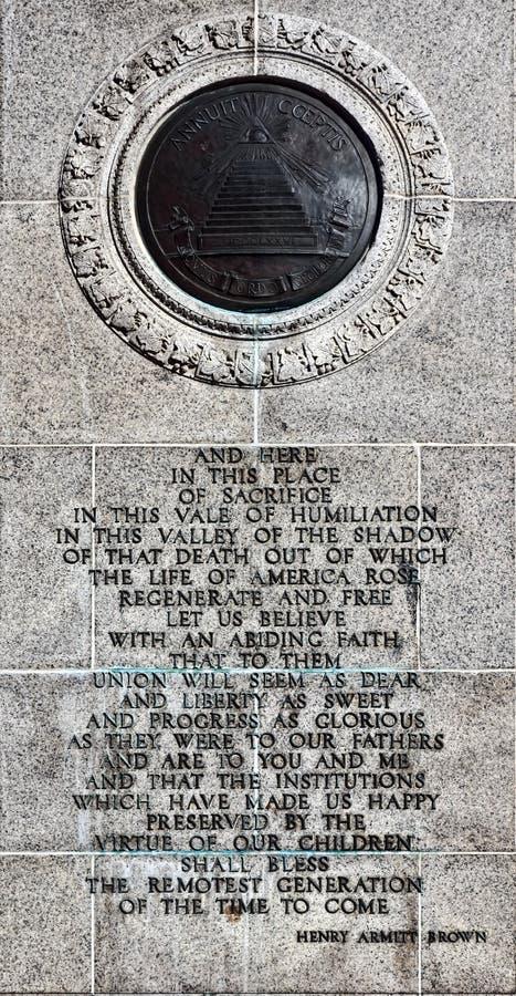 Henry Armitt Brown Oration Text à la forge de vallée photos libres de droits