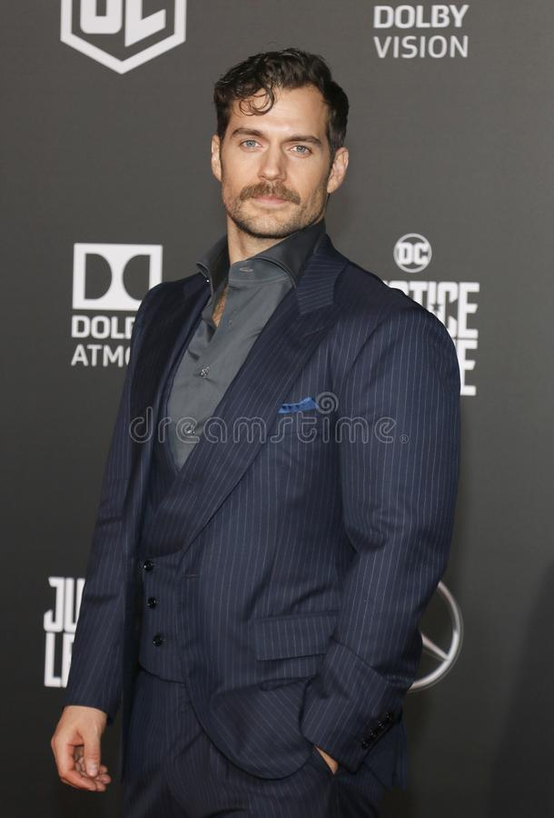 Henry Cavill. At the World premiere of `Justice League` held at the Dolby Theatre in Hollywood, USA on November 13, 2017 stock photo