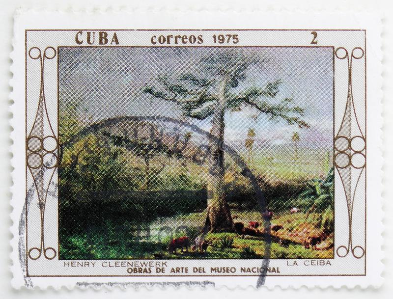 Henry Cleenewerk : La Ceiba, Paintings from the National Museum serie, circa 1975. MOSCOW, RUSSIA - JULY 25, 2019: Postage stamp printed in Cuba shows Henry royalty free stock photography