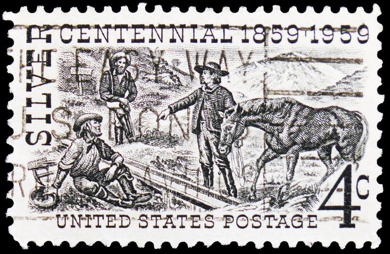 Henry Comstock at Mount Davidson Site, Silver Centennial Issue serie, circa 1959. MOSCOW, RUSSIA - FEBRUARY 20, 2019: A stamp printed in USA shows Henry Comstock stock photos