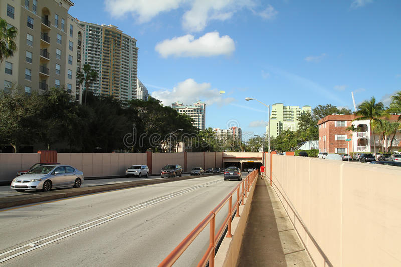 The Henry E. Kinney tunnel in Fort Lauderdale stock photography