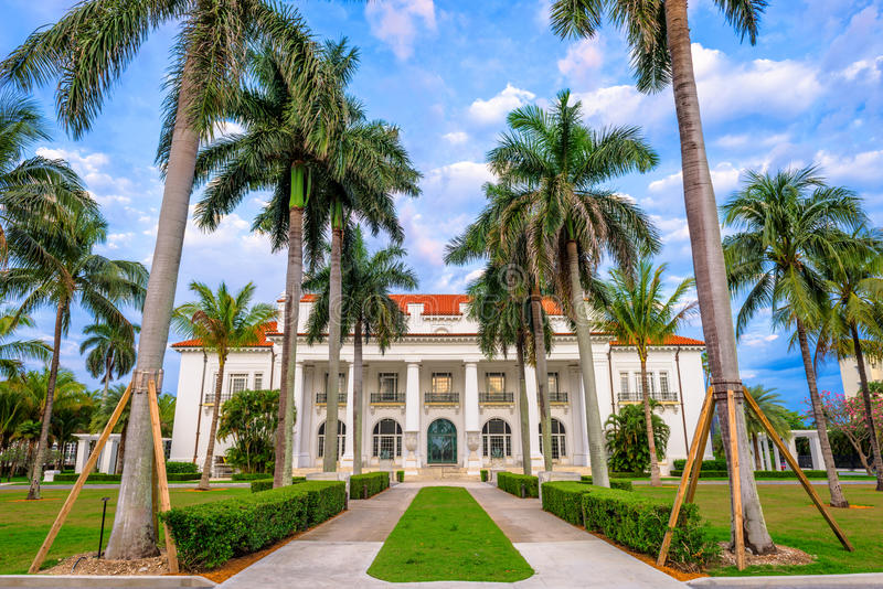 Henry Flagler House. WEST PALM BEACH, FLORIDA - APRIL 4, 2016: The Flagler Museum exterior and grounds. The beaux arts mansion was constructed by Henry Flagler royalty free stock images