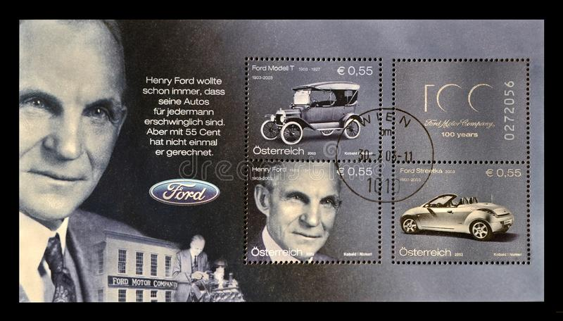Henry Ford, American captain of industry, business magnate, founder of the Ford Motor Company, circa 2003,. AUSTRIA - CIRCA 2003: stamp printed in Austria shows royalty free stock images