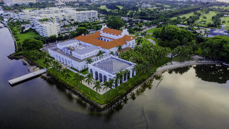 Henry Morrison Flagler Mansion Museum. Aerial photograph of the renowned Henry Morrison Flagler House and museum stock photo
