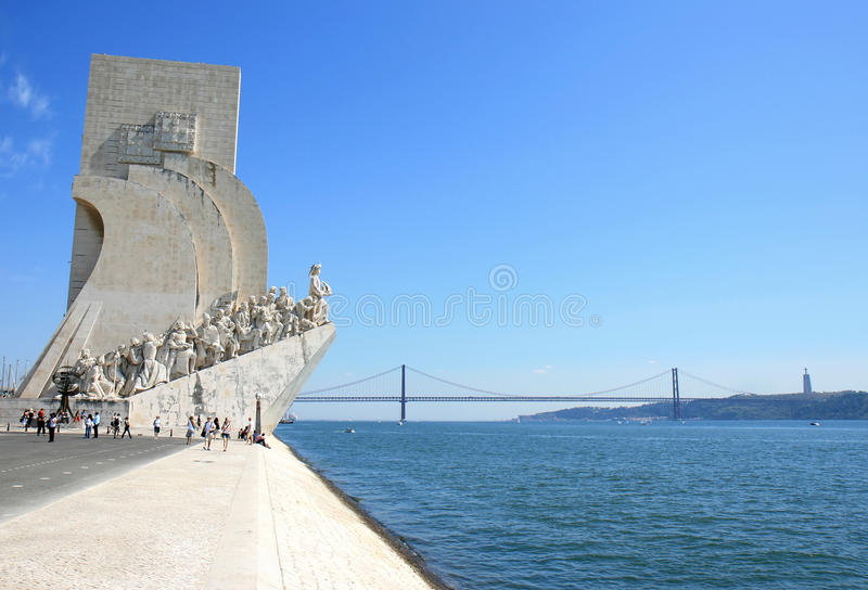 Henry the Navigator Monument and bridge, Lisboa. Tourists near the Padrao dos Descobrimento or Monument to the Discoveries, a monument that celebrates the stock images