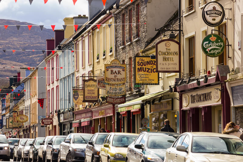 Henry St. Kenmare. Kerry. Ireland. Colourful signs in Henry St. Kenmare. county Kerry. Ireland royalty free stock photos
