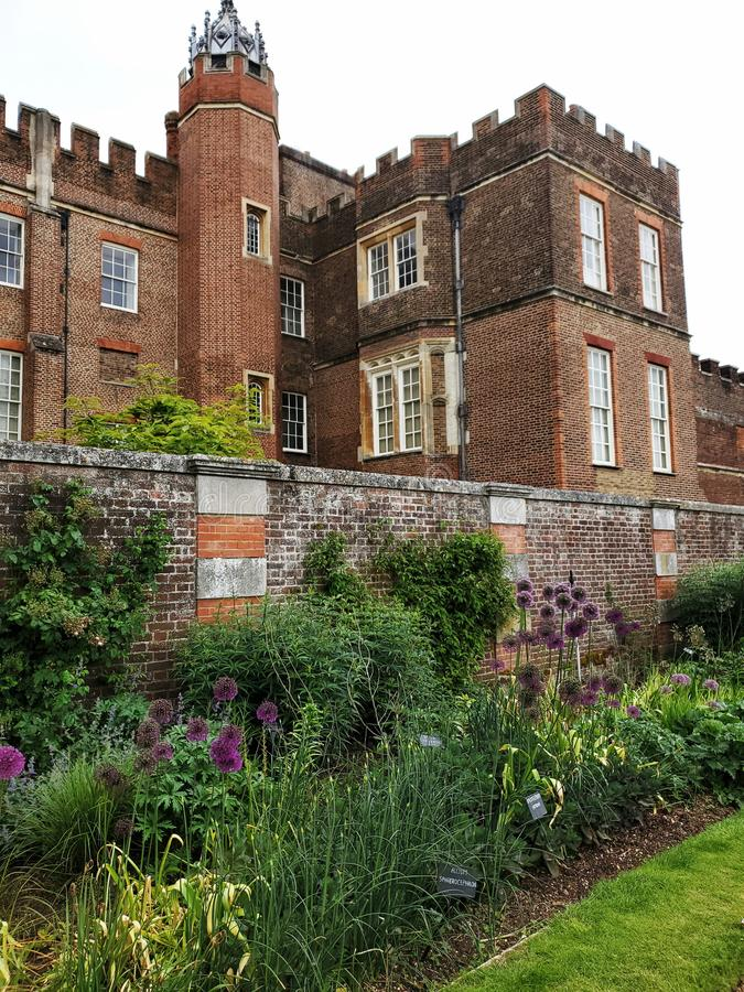 Henry 8th Hampton Court Palace rear garden wall view royalty free stock image