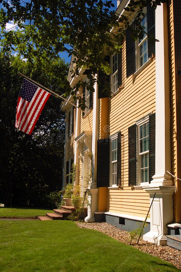 The Henry Wadsworth Longfellow House in Cambridge MA. The Henry Wadsworth Longfellow House in Cambridge is the historic home of the famed author stock photos