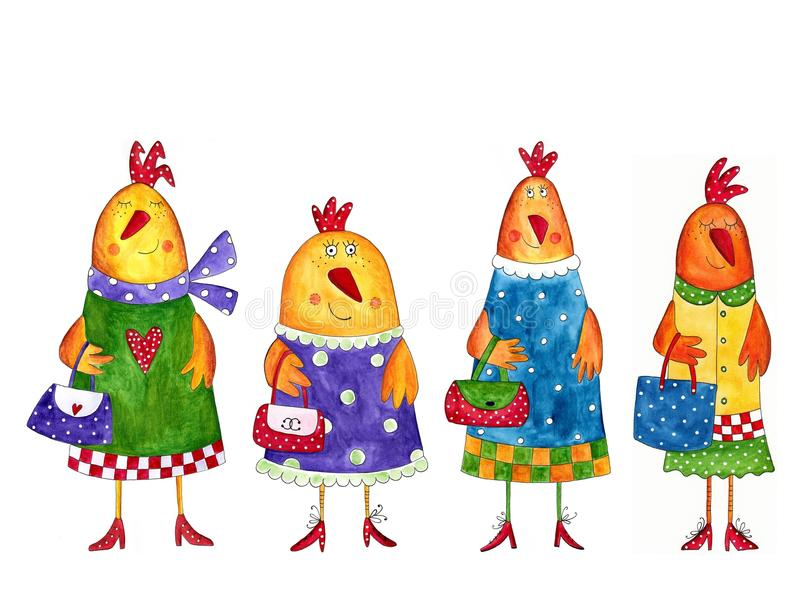 Download Hens. Cartoon characters stock illustration. Image of colorful - 25676538