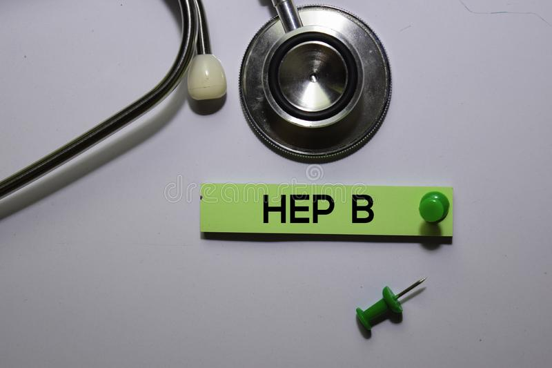 HEP B text on sticky notes isolated on office desk Concept stock images