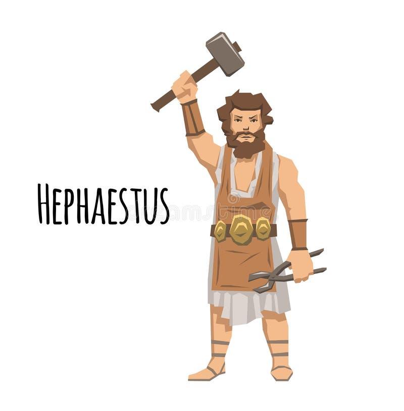 Hephaestus, starożytnego grka blacksmith i ogień bóg mitologia Płaska wektorowa ilustracja Na białym tle royalty ilustracja