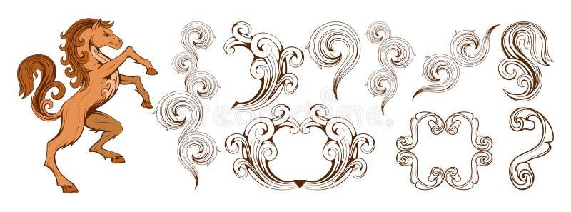 Heráldica, crista heráldica ou brasão, elementos heráldicos para seu projeto, gravura, estilo retro do vintage, animais da heráld ilustração do vetor