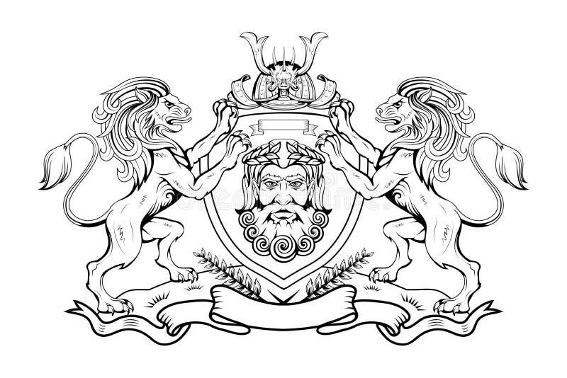 Heráldica, crista heráldica ou brasão, elementos heráldicos para seu projeto, gravura, estilo retro do vintage, embl dos animais  ilustração stock