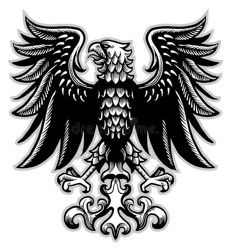 Heráldica de Eagle en estilo clásico de la pluma stock de ilustración