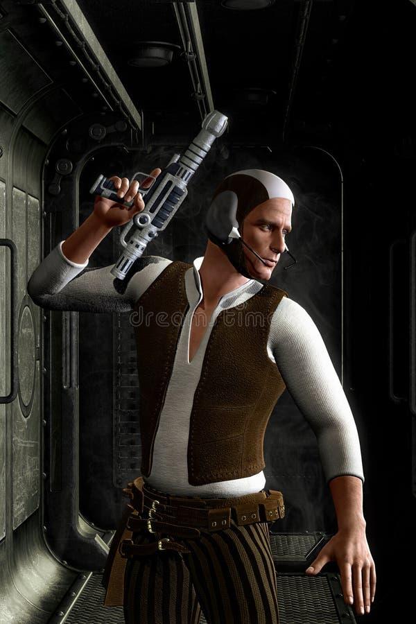 Herói do espaço da ficção científica ilustração royalty free