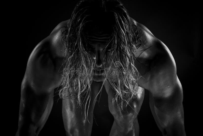 Herói super muscular imagens de stock
