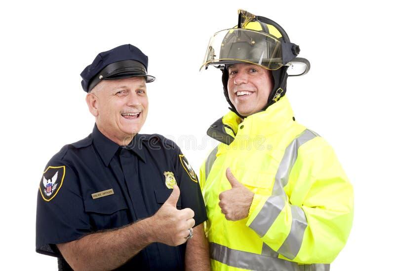 Heróis do colar azul - Thumbsup imagens de stock royalty free