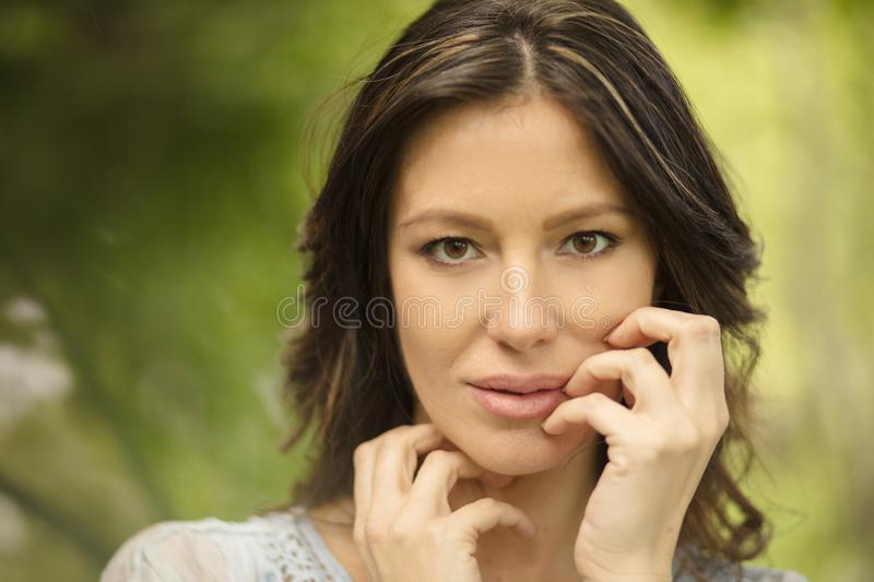 Her beauty will enchant you. Beauty woman in nature royalty free stock images