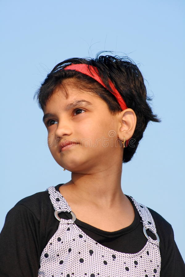 Her bright aspirations. A nice Indian girl with her bright aspirations royalty free stock image